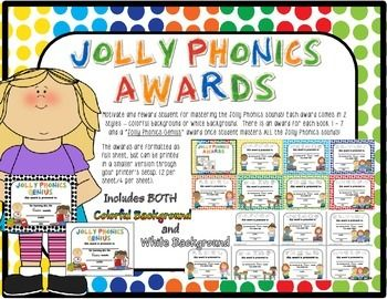 Jolly Phonics Award Certificates - Comes in both colorful polka dot background or plain white backgrounds - Suitable for both boys and girls and are multi-cultural. There is a certificate for each book and a final award when ALL Jolly Phonics sounds are mastered! Can be printed full sheet or smaller.