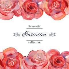 Vector illustration. Save the date or wedding invitation template with roses. Wedding invitation template with red roses with watercolor texture. Hand drawn floral wedding invitation. Romantic card.