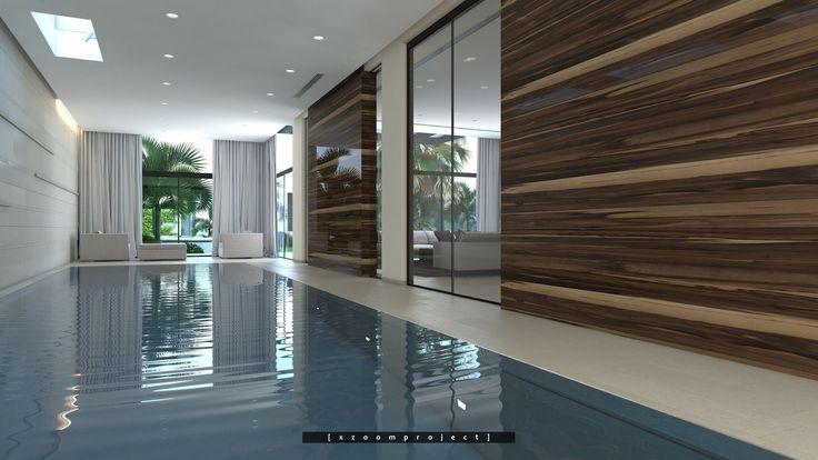 Luxury Villa Interior. Saudi Arabia. Indoor Swimming Pool.