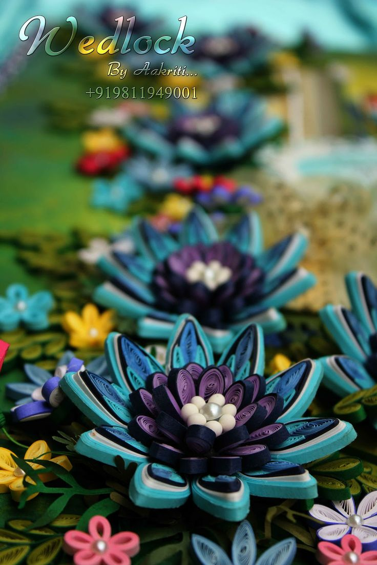 Passionately curious ocean blue quilling