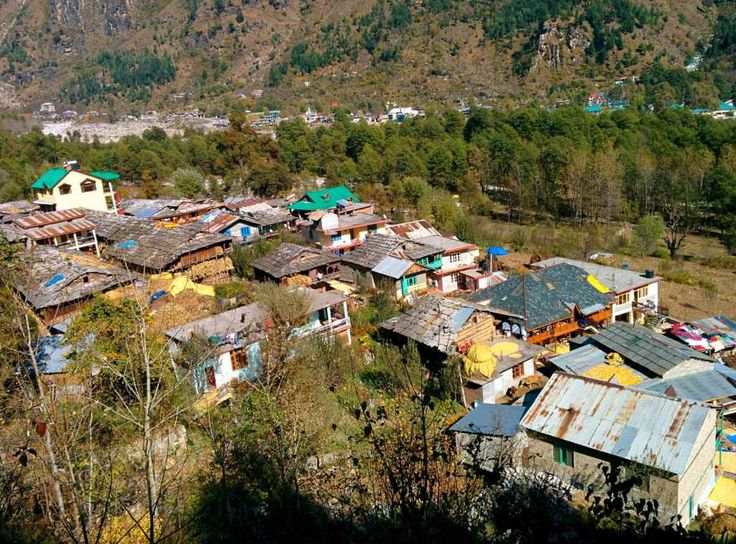 The top view of Goshal village, near Manali, Himachal