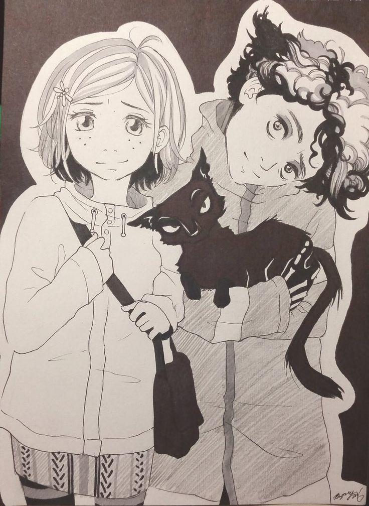Coraline, Wybie and The Cat by LozelDaArtist.deviantart
