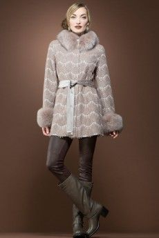 Guy LaRoche  Detachable Cinnamon Fox Fur Trimmed Lace and Cashmere Mid-Length Coat