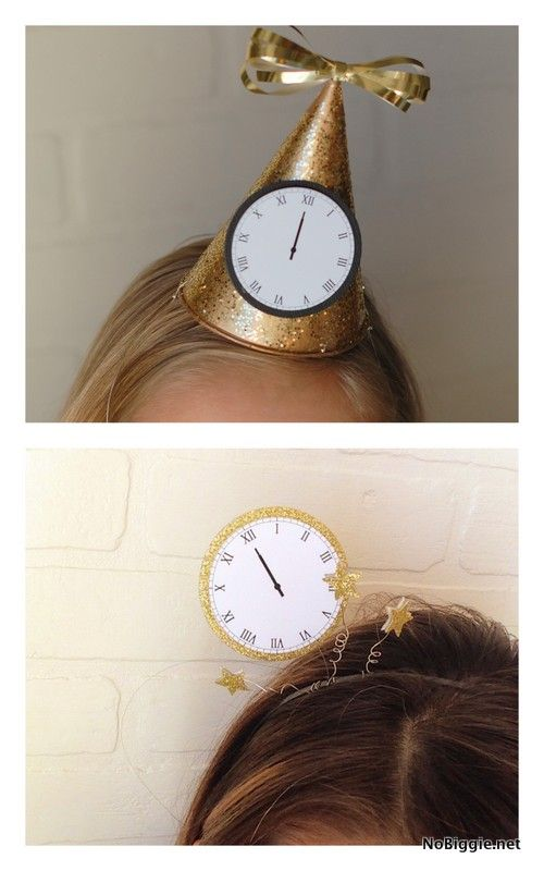 Make a headband or a party hat to Celebrate New Year's Eve with this free printable -via NoBiggie.net