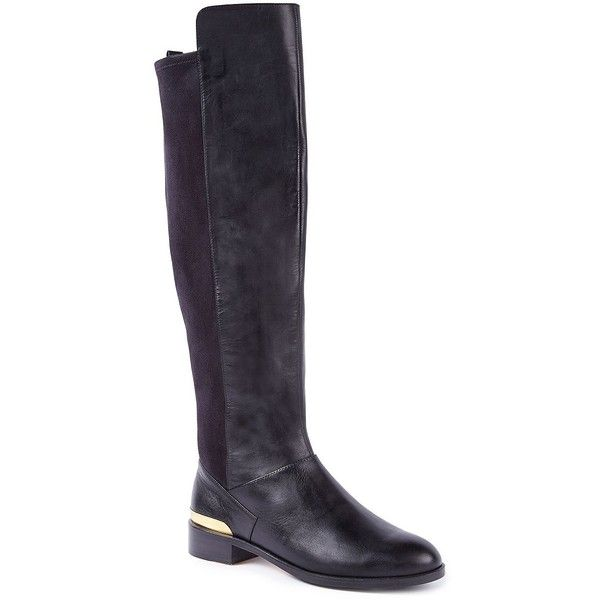 Ted Baker Ryade Leather Knee High Boots ($310) ❤ liked on Polyvore featuring shoes, boots, black, black knee boots, knee boots, high leather boots, real leather boots and knee high leather boots