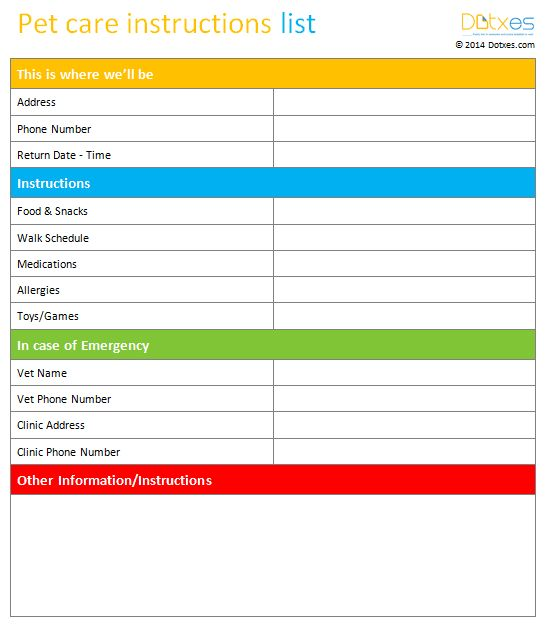 Pet care instructions list template will help you when you are leaving your loving pet with someone else or pet sitter.