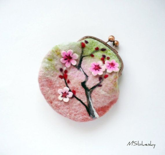 Wet Felted Sakura Pastel colors coin purse Ready to by MSbluesky, $46.00