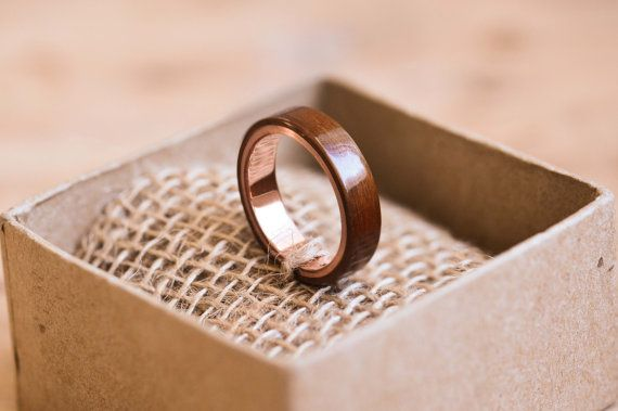 Santos Rosewood & Copper Bentwood Ring by TheWoodenCircleCo