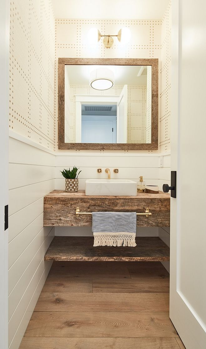 Farmhouse Farmhouse Style Bathroom Features Half Wall Shiplap Wainscoting With Wallpaper Above Bathroom Farmhouse Style Guest Bathroom Small Powder Room Vanity