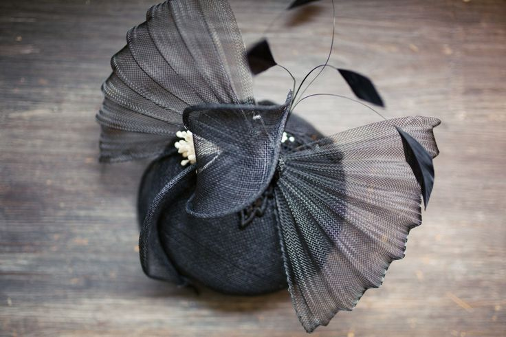 Elegant Black Pillbox Hat, embellished with a beautiful black bow and black feathers, Race Hat,  Fascinator Mini Hat -  Custom Made to Order by SoElegantByNINAshop on Etsy