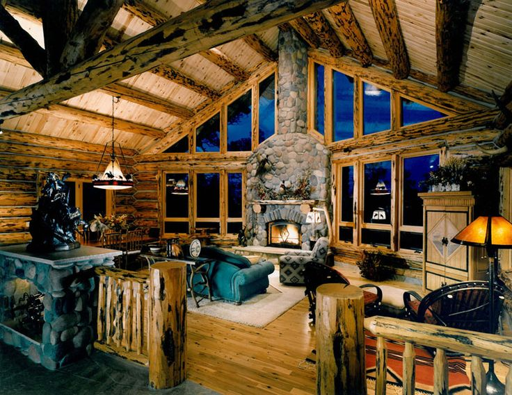135 best Rustic Great Rooms images on Pinterest Home, Rustic - log cabin living rooms