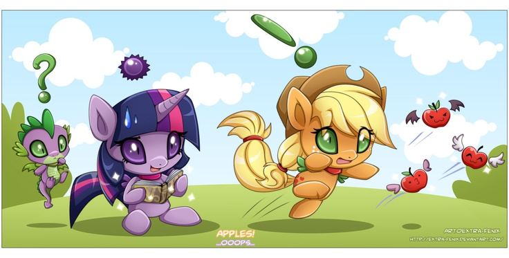 Chao MLP:Twilight, AppleJack and Spike by Extra-Fenix.deviantart.com