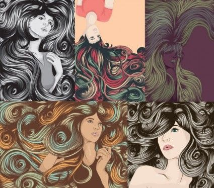 the complexity of women hair cool vector