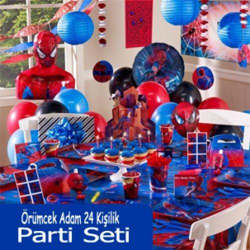 Spiderman Parti Seti (24 Kişilik)Örümcek Adam 24 Kişilik Doğum Günü Parti Seti içerisindeki ürünlerin listesini aşağıda bulabilirsiniz.Spiderman Tabak : 24 Ad. Spiderman Bardak : 24 Ad. Spiderman Peçete : 40 Ad.Spiderman Temalı Karışık Renkli Balon : (20 Ad.)Spiderman Masa Örtüsü : 2 Ad.Spiderman