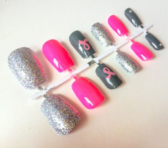 Items Similar To T Cancer Awareness Pink Fake Nails Rhinestone Acrylic Colorful False Neon Artificial On Etsy