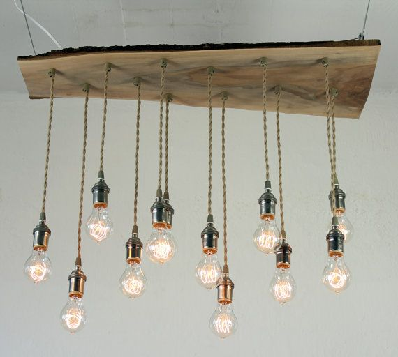 Salvaged Live Edge Wood Chandelier with Victorian Edison bulbs