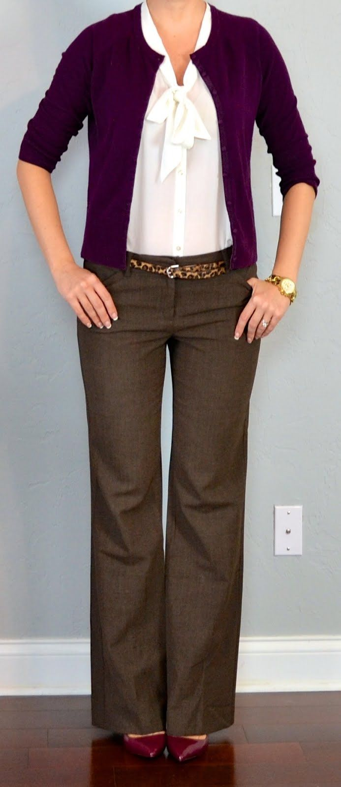 outfit post: burgundy cardigan, white tie blouse, brown 'editor' pants, leopard belt