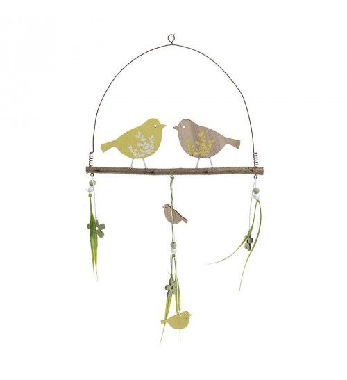 WOODEN HANGING DECORATION 'BIRDS' 27X45