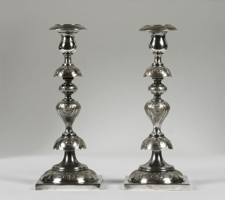 Pair of Russian Imperial-Polish Candlesticks by Fraget/ Silver on Brass/ Judaica #NeoClassical #FragetWarsaw