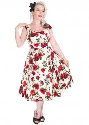 Hearts & Roses With Love Swing Jurk Wit