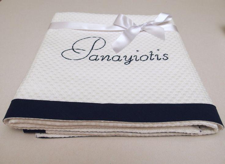Baptism Blanket Navy Baby Blanket Personalized Monogrammed Cotton Pique Crib Blanket Baby Shower Gift Stroller Blanket Toddler Blanket by VirgoCottonLinen on Etsy #Baptism #BabyShower #baby #Gift #BabyBoy #BabyFift
