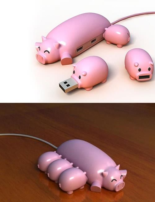 Piggy USB Concept. Too cute! Time to get my technology on