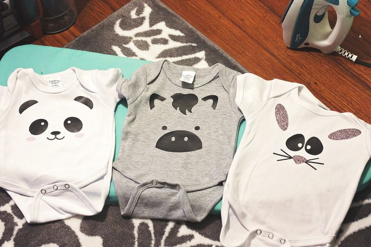 A step by step tutorial for making adorable baby onesies using the Silhouette Cameo. These ones have cute little animal faces! @diyjustcuz