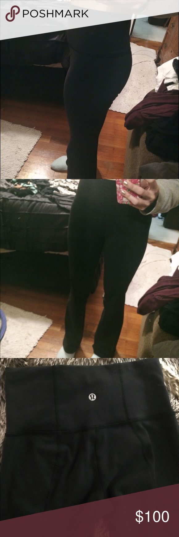 Lululemon yoga pants (size 2) Lululemon yoga pants worn only once. I'm a 14 year old girl and they fit me perfectly. lululemon athletica Pants Boot Cut & Flare