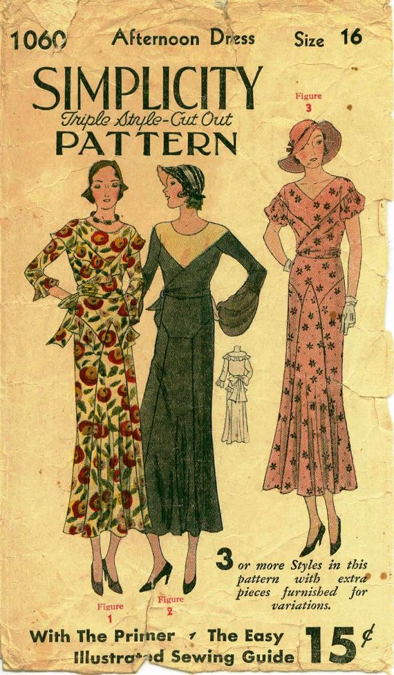 1930's Vintage Sewing Pattern 1930's by shellmakeyouflip on Etsy, $35.00