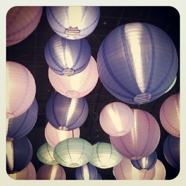 These lanterns hang on the ceiling of Za Za Bazaar Restuarant in Bristol England - I love the sheer colours