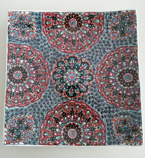 SQUARE OTTOMAN STYLE TURKISH CERAMIC PLATE, 40 cm, 003
