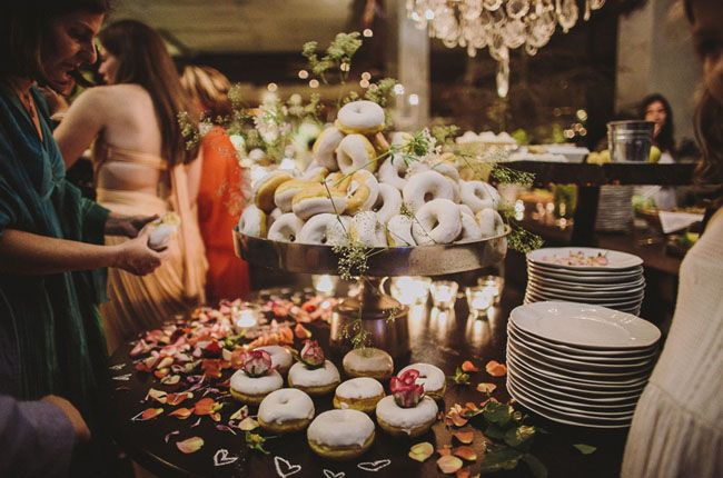 donuts are the perfect ending to a wedding