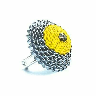 Happy silver/yellow paperlight ring from Babelfish Jewelry