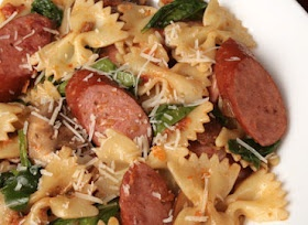 Chicken Sausage & Bow Tie Pasta with Mushrooms and Sun-Dried Tomatoes