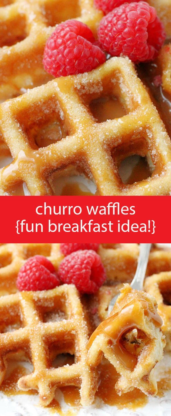 Churro Waffles {Fun & Easy Breakfast Recipe with Cinnamon and Sugar} buttermilk waffles / homemade waffle recipe / churro recipe / churros via @foodtasticmom