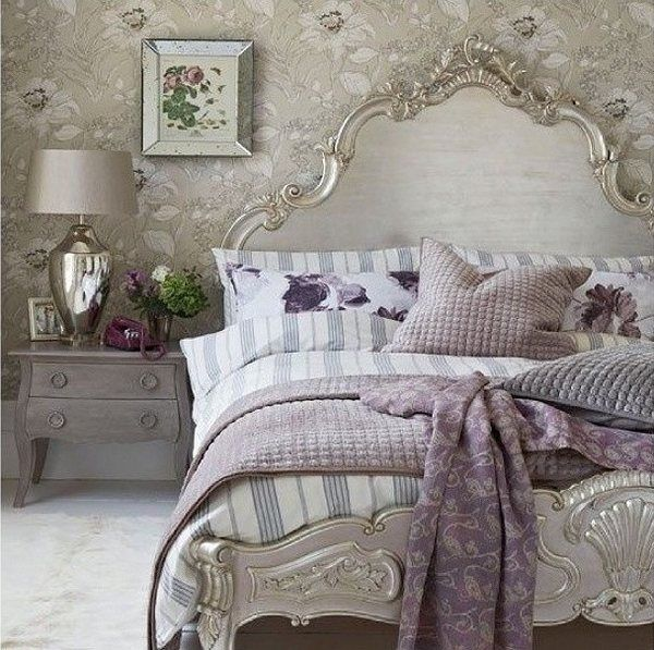 Stylish Shabby Chic Bedroom Interior Design Neutral Colors Light Gray Striped Bedding Set