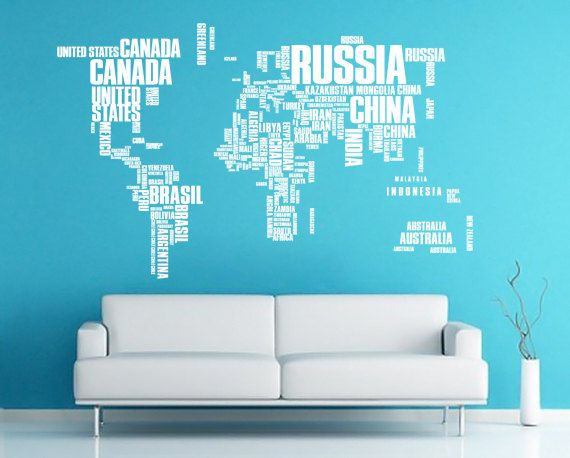 Large World Map Words Typography Travel Decal for Home, Dorm, Office, Living Room or Bedroom. $92.00, via Etsy.