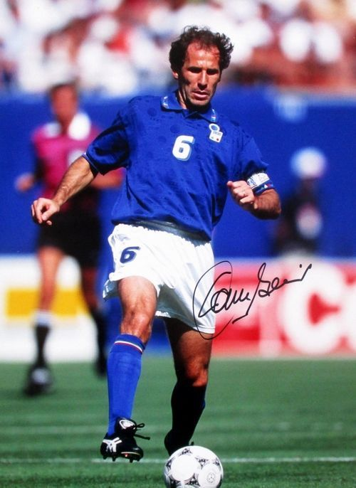 Franco Baresi Signed Italy 12x16 Dribbling Photo Icons