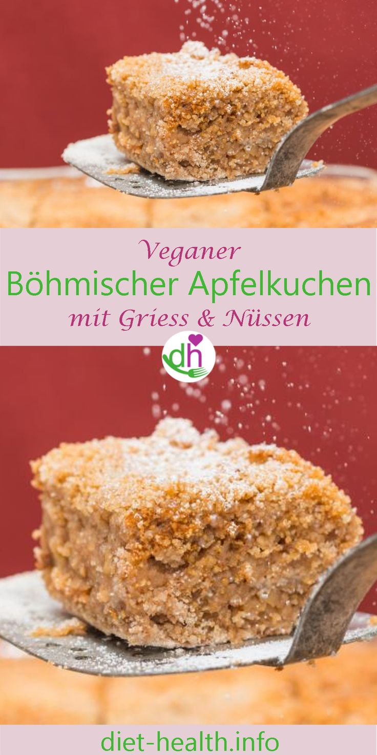 Der Böhmische Apfelkuchen mit Griess ist eine schnell zubereitete Süssspeise mit feinem Nussaroma. Anstelle von Margarine können Sie auch Rapsöl verwenden. Rapsöl weist ein gutes Fettsäureverhältnis auf und enthält reichlich Omega-3-Fettsäuren. #omega3 #Apfelkuchen #vegan