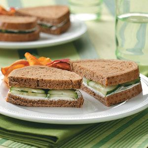 Cucumber Sandwiches! Delicious, quick, and healthy :)  In a large bowl, combine 8 ozs cream cheese and 2 tbsps ranch dressing mix. Spread on one side of each slice of bread. Peel cucumbers if desired; thinly slice and place on slice of bread. Top with another slice of bread.