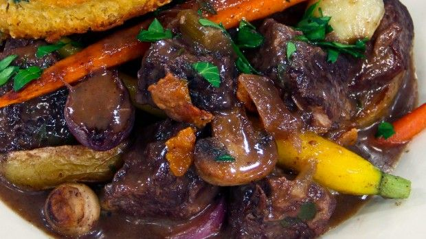 One-Pot Beef Bourguignon | Steven and Chris | Chef Jonathan Collins shares his spin on a French country classic, Beef Bourguignon.