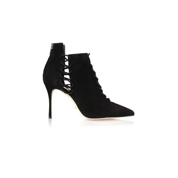 SERGIO ROSSI 'Secret' Ankle Boots (8 815 UAH) ❤ liked on Polyvore featuring shoes, boots, ankle booties, black, lace up ankle boots, high heel ankle boots, black ankle boots, black high heel boots and suede lace up booties