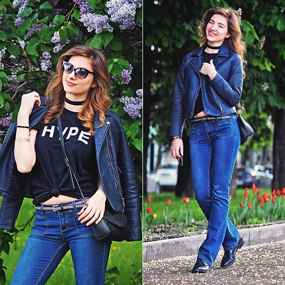 Get this look: http://lb.nu/look/8286395  More looks by Natasha Karpova: http://lb.nu/ms_natika  Items in this look:  American Apparel T Shirt, Sinsay Blue Flare Jeans, Monki Bag, Deichmann Black Shoes, Debenhams Navy Leather Jacket, No Brand Choker, Universal Time Austria MacramÉ Bracelet   #casual #grunge #street #flarejeans #flaredjeans #summer #2016 #msnatika #moscow