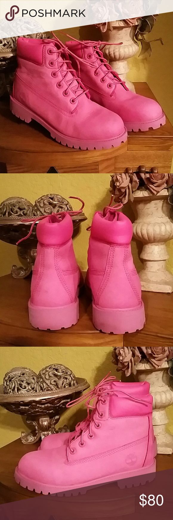 "PINK LEATHER TIMBERLAND BOOTS SZ 37.5 EUC Lightly worn bright pink Timberland waterproof  premiun rose nubuck junior short lace up boots 6"""" a pink rubber lug sole pink laces. Very clean. Youth sz 5  Same as ladies sz 7.5 UK size 37.5. Youth sz 5. Timberland Shoes Ankle Boots & Booties"