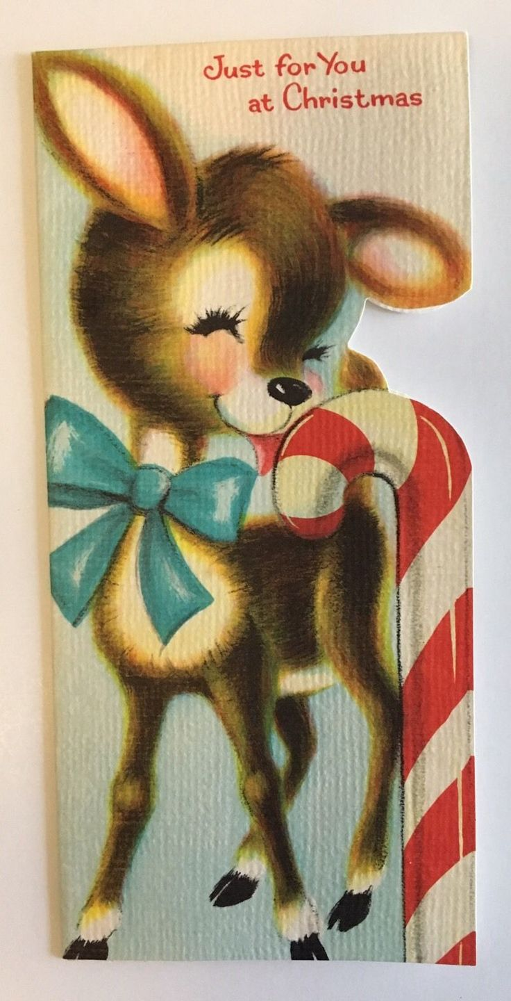 Vintage Die Cut Christmas Card Baby Deer Fawn Lick Peppermint Candy Cane Bow FOR SALE • $4.50 • See Photos! Money Back Guarantee. Vintage Die Cut American Greetings Christmas card. Talk about cute... This adorable little deer is just too precious. Someone loves candy, yum! Signed, vintage tape residue inside. Overall in great 152601412750