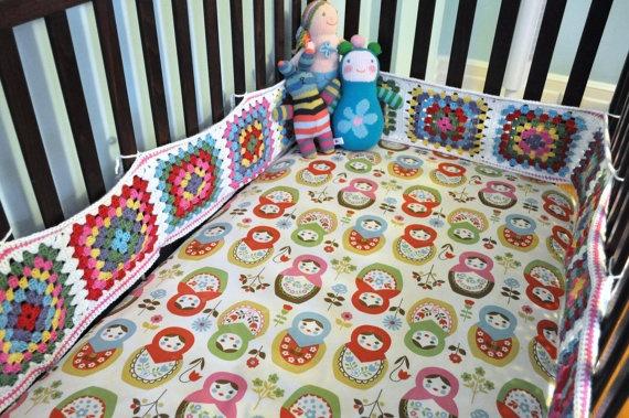 Custom Designer Breathable Crib Bumper Pad for Jenny Lind Style Cribs - Granny Square Crochet