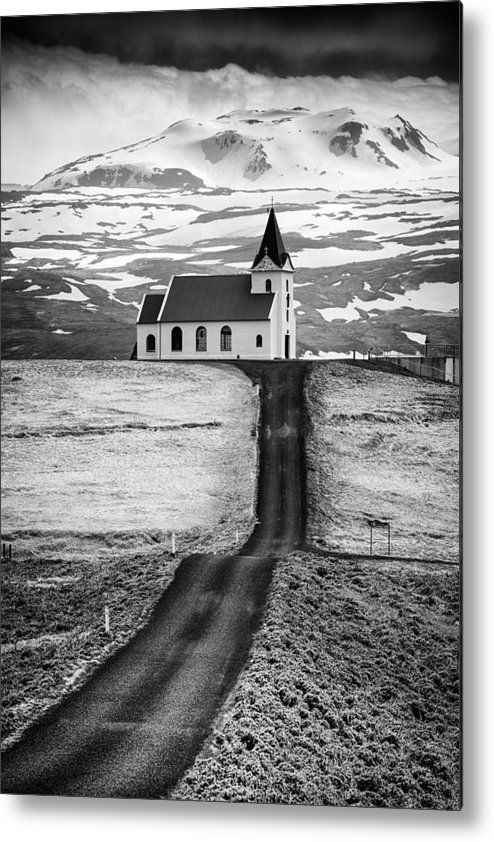 Path to church in the mountains, metal print for sale. Black and white photo of Ingjaldsholl Church in Iceland, wonderful gift for an Iceland lover! Art for your Home Decor and Interior Design by Matthias Hauser. #iceland #blackandwhite #church