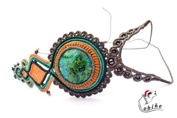 collar 3d con piedra crisocola y engaste original de la nuestra marca the lobiño