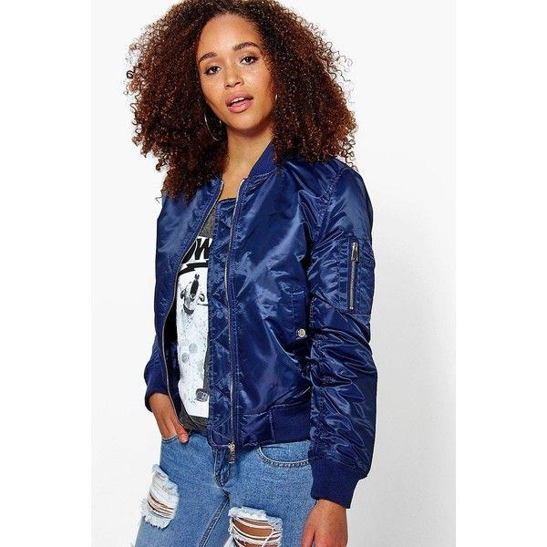 Boohoo Lottie MA1 Bomber ($35) ❤ liked on Polyvore featuring outerwear, coats, navy, duster coat, bomber coats, navy coat, longline coat and navy blue raincoat