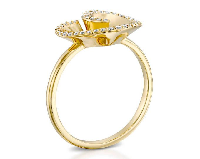 Heart shaped diamond ring, 18k gold, high quality, Natural diamonds, Yellow gold, Wedding band, Beautiful ring, Handmade multistone ring